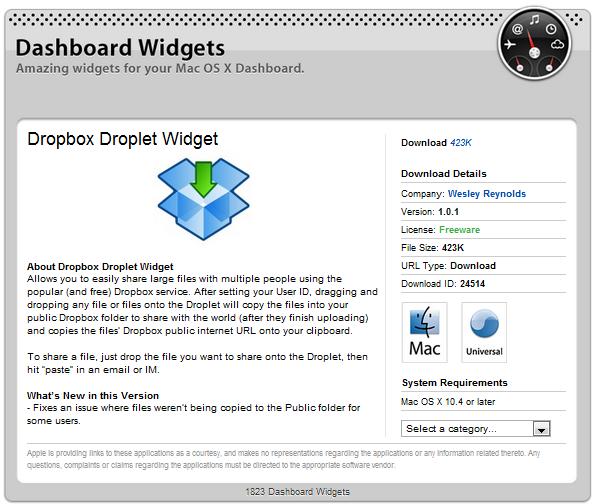 Dropbox Droplet Widget
